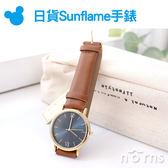 Norns【日貨Sunflame手錶】J-AXIS日本復古皮質腕錶 HL225-BR 女錶 質感 棕色