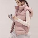 【可拆卸帽子】2020秋冬女士棉馬甲短款韓版顯瘦羽絨棉背心外套潮新年禮物