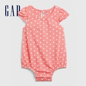 Gap嬰兒甜美花卉印花短袖包屁衣580458-霓虹粉