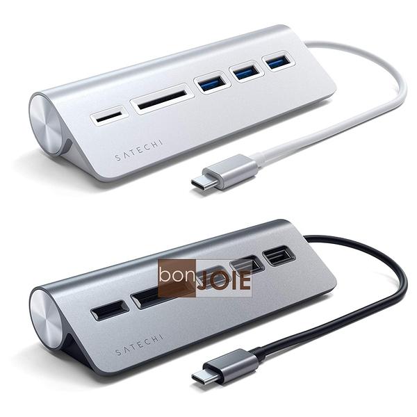 ::bonJOIE:: 美國進口 Satechi Type-C Aluminum USB 3.0 Hub & Card Reader 鋁合金材質 集線器 (含 SD / Micro SD 讀卡器)