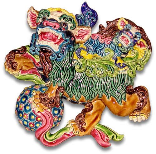 鹿港窯-交趾陶居家開運裝飾壁飾~L 母子獅戲球 (半立體圓雕)