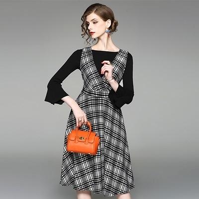 洋裝(兩件套)-喇叭袖一字領上衣格紋背帶女連身裙73of158[巴黎精品]