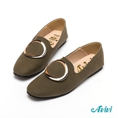【Avivi】復古時尚大圓環方頭樂福鞋-綠