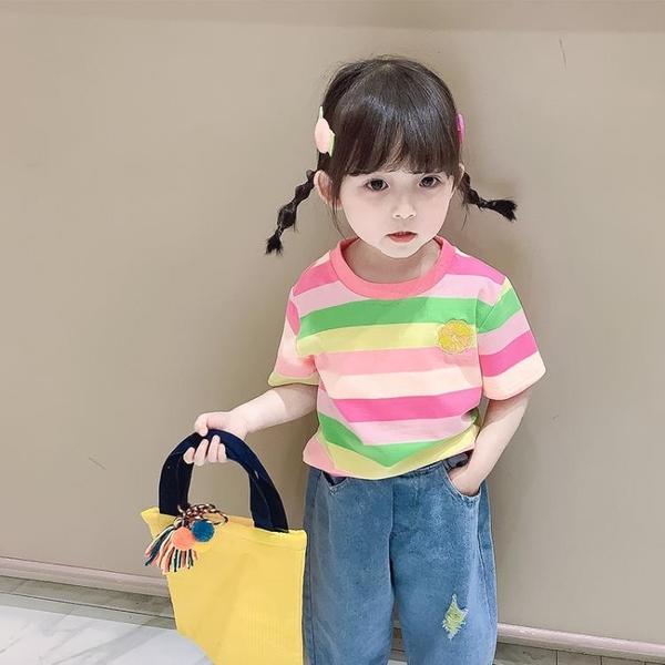 2021夏裝新款童裝女童小童寶寶兒童純棉T恤半袖上衣洋氣短袖體恤 茱莉亞