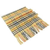 【南紡購物中心】BURBERRY Vintage 細格紋經典喀什米爾圍巾(古典黃)