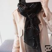 絲巾女百搭黑白格子圍巾披肩長款兩用紗巾【左岸男裝】