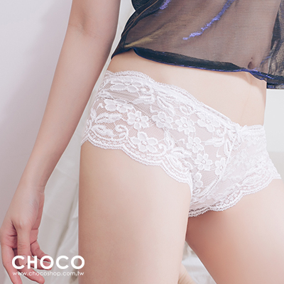 Choco Shop-巴黎戀人‧高質感蕾絲透膚彈性內褲(白色) S~XXL