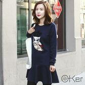 O-Ker 韓版休閒寬鬆中大尺碼加厚圓領T恤T1113-C