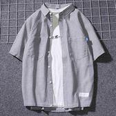 森雅誠品 日系寬鬆半袖條紋襯衫男夏季短袖青少年潮牌文藝港風襯衣正韓清新