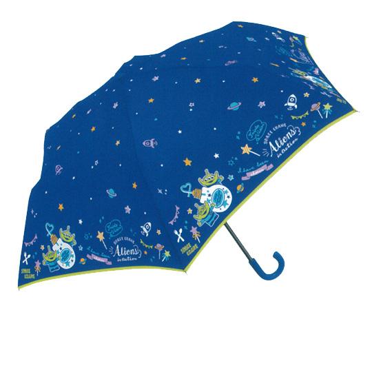 〔小禮堂〕迪士尼 三眼怪 彎把防風傘骨折疊傘《深藍.燈泡飲料》折傘.雨具.雨傘 4935124-31480