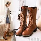 秋冬新款圓頭系帶中筒靴騎士靴馬丁靴女靴子中跟防滑厚底女鞋 可然精品