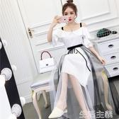 新款連身裙女裝時尚超仙雪紡網紗百褶裙露肩吊帶荷葉邊兩件式網紗洋裝 生活主義