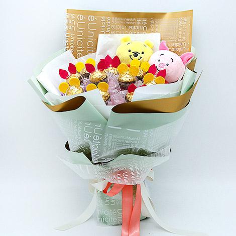 幸福婚禮小物『維尼小豬金莎巧克力花束』 畢業花束/生日禮物/金莎花束/情人節花束/朋友送禮