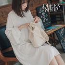 Queen Shop【01023297】造型袖設計雪紡垂墜襯杉洋裝 兩色售*現+預*