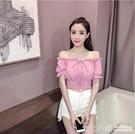 夏季新款2019韓版高腰短款一字領露肩雪紡衫性感泡泡袖收腰上衣女