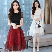 洋裝 韓版 蕾絲 婚禮派對 小禮服 網紗 中長款 連身裙-大小姐韓風館