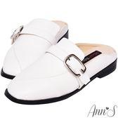Ann'S微帥氣-G扣帶平底穆勒鞋-白