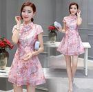 中大尺碼 洋裝短袖改良旗袍少女裝夏季20...