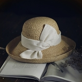 草帽-手工編織漁夫帽戶外時尚優雅捲邊女遮陽帽2色73si41[巴黎精品]