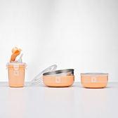 【美國 Kangovou】小袋鼠不鏽鋼安全兒童餐具組簡配組-奶油橘 精美禮盒