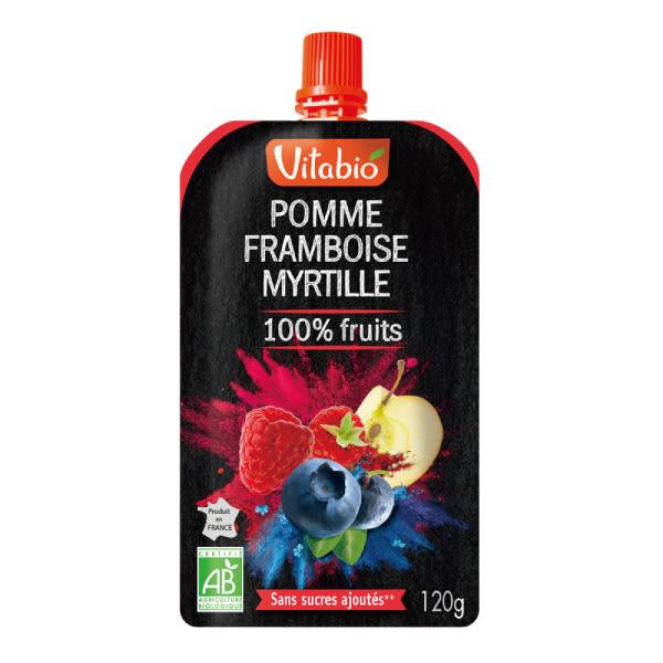 Vitabio 有機優鮮果PLUS蘋果覆盆莓120G-法國原裝進口12個月以上嬰幼兒專屬副食品