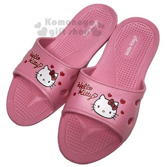 〔小禮堂〕Hello Kitty 極輕防滑塑膠拖鞋《淡粉.愛心》室內拖鞋.浴室拖鞋_713052-38961