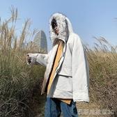連帽工裝棉服男韓版寬鬆潮流毛領棉衣外套秋冬季百搭加絨加厚棉襖凱斯盾