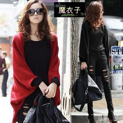 【Q3606】魔衣子-簡約單色針織罩衫外套