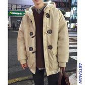 大衣外套 冬裝連帽潮流棉衣休閒棉服牛角扣男士寬鬆加厚外套毛呢大衣 萬客居