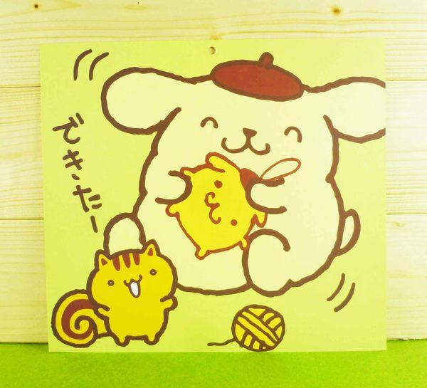 【震撼精品百貨】Pom Pom Purin 布丁狗~雙面卡片-毛線圖案/綠色底