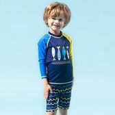 兒童泳衣 撞色 圖騰 五分褲 兩件式 長袖 兒童泳裝【SFC7106】 BOBI  07/06