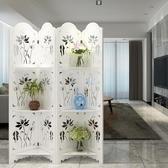 簡約古典荷花臥室屏風隔斷玄關時尚客廳白色雕花折疊置物架折屏