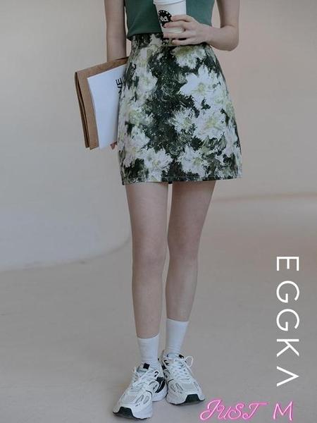 包臀裙EGGKA復古油畫風半身裙a字裙女2021年春季新款高腰顯瘦短裙包臀裙 JUST M
