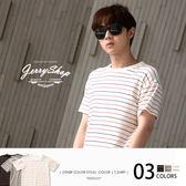 短T JerryShop【FF40077】日系台灣製條紋短T(3色) 春夏新款 韓版 文青 情侶衣 MIT