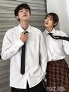 白色加絨保暖襯衫男士長袖韓版潮流學生情侶裝襯衣學院風套裝上衣   夏季新品