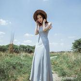 夏新款V領性感露背抹胸吊帶裙高腰開叉大擺裙禮服長裙洋裝 早秋促銷
