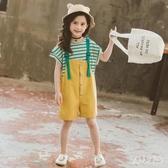 女童套裝夏裝時髦洋氣寶寶夏季2020春裝新款兒中大童裝背帶兩件套 yu12515『俏美人大尺碼』