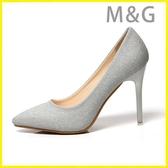 MG 金色高跟鞋淺色高跟鞋女細跟尖頭銀色伴娘鞋金色淺口百搭宴會禮服婚紗照單鞋