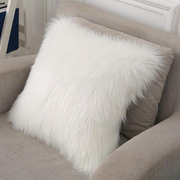 歐式長毛絨抱枕含芯羊毛靠墊套家用ins沙發床頭樣板房狐貍毛靠枕 樂活生活館
