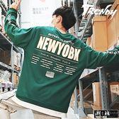 『潮段班』【HJ003205】M-5L大尺碼假兩件式拼接字母長袖圓領上衣T恤