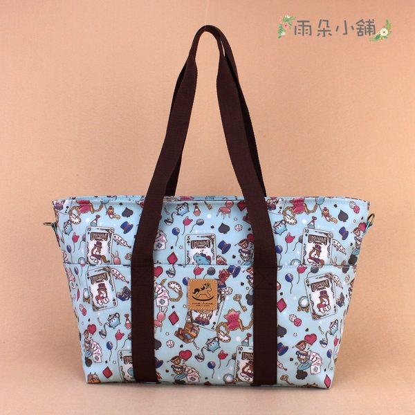 媽媽包 包包 防水包 雨朵小舖 U066-004 媽媽包-淺藍撲克動物們的茶會 uma hana