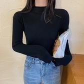 針織打底衫 打底衫女秋冬黑色高領百搭針織衫春秋季內搭長袖上衣服潮-Milano米蘭