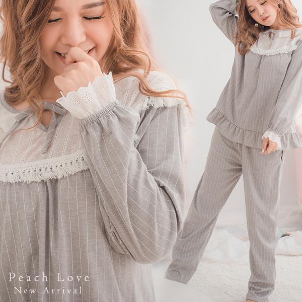 秋冬睡衣 優雅棉質兩件式睡衣+睡褲(灰)-保暖、居家服_蜜桃洋房