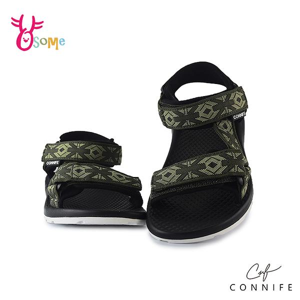 CONNIFE可妮妃 兒童涼鞋 女童涼鞋 休閒涼鞋 專櫃 運動涼鞋 圖騰涉水涼鞋 可調 女鞋可穿 J6607#綠色