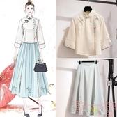 唐裝連身裙復古改良旗袍兩件套女裝中國風漢服茶服【聚可愛】