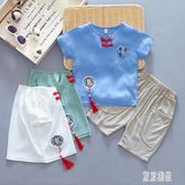 兒童漢服短袖男童唐裝2019新款夏裝寶寶夏季套裝中國風古裝兩件套休閒褲裝LXY2489【東京潮流】