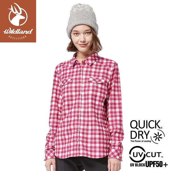 【Wildland 荒野 女 彈性針織格紋保暖襯衫《桃紅》】0A82203/休閒服/格紋衫/運動衣/薄外套