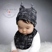 帽子 圍兜 嬰兒 三角巾 惡魔 韓國 貓咪 牛角 造型 套裝 BW