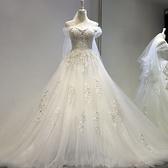 重工婚紗禮服 夢幻超仙森系法式新娘拖尾輕婚紗禮服洋裝  店慶降價