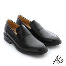 A.S.O 學生鞋 真皮素面直套式通勤鞋-黑